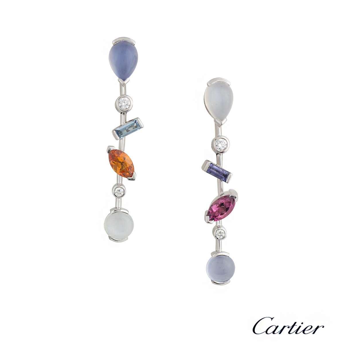 Cartier Meli Melo Multi Gem Set Platinum Earrings